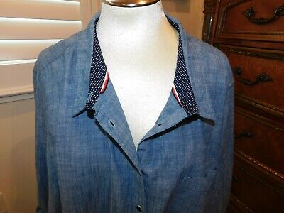 Nwt $69 Blue Tommy Hilfiger Womens 3X Plus Top Long Sleeve Button Blouse Cotton