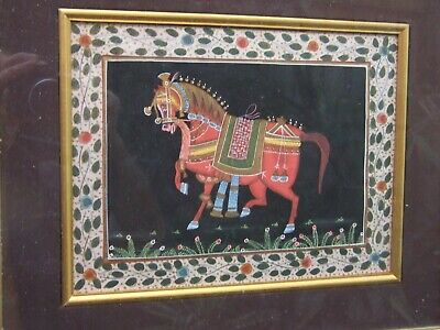 Antique  PERSIAN  RED HORSE SCENE HAND PAINTED ON SILK ORIENTAL ART DECOR