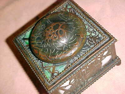 antique  BRONZE TIFFANY INKWELL  -  BEAUTIFUL PATINA  -   SIGNED  -  EX ESTATE