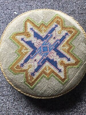 Antique Victorian Tapestry Circular Wood Footstool