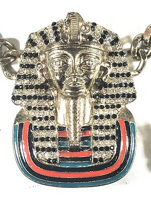 Gold Silver Tone Egyptian King Tut Pharaoh Chain & Earrings Swag Necklace