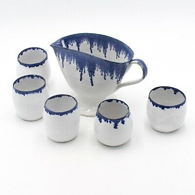 """Vintage JB Cole Pottery Nell Cole Graves 5""""h Pitcher & 5 Cups White w/ Blue Drip"""