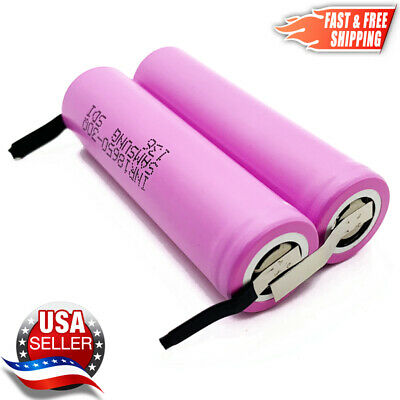 2 Samsung 30Q 18650 3000mAh 15A Rechargeable Battery with Pre-Welded Solder TABS