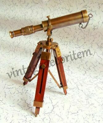 Antique Collectible Decorative Brass Solid Telescope With Wooden Tripod Stand