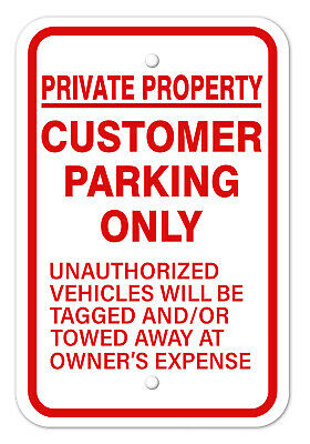 """Private Property Customer Employee Parking Aluminum Sign 8/""""x12/"""" Made in USA Red"""