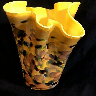 """Art Glass Vase Gold With Multicolored Exterior Hand Blown Hankerchief Top 7 3/4"""""""