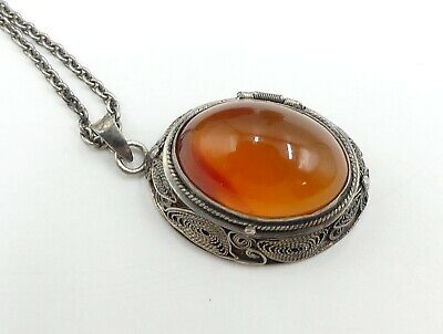 Vintage sterling silver & Chinese filigree locket with carnelian cabochon neckla