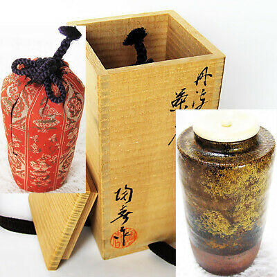 Japan Tea ceremony equipment TAMBA CHAIRE koi-chaki Pottery tea caddy KT27