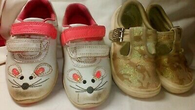CLARKS GIRLS CANVAS  DOODLES BRILEY Bow & light up mouse shoes  .. 5.5 F