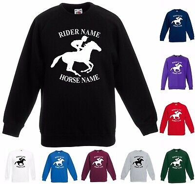Personalised Horse Riders Sweatshirt Add Name Riding Love Pony Adult Kids Jumper