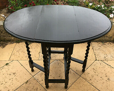 Antique English Barley Twist Gate Leg Table: for restoration