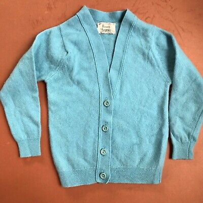 Vintage Children's Barrie for Harrods Traditional Lambswool Button Blue Cardigan