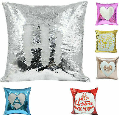 Personalised Sequin Cushion Cover Photo Your Name Or Text Reveal Magic Gift
