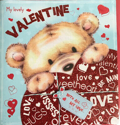 Valentines Day Card Teddy Bear With Red Glittery Heart My Lovely Valentine