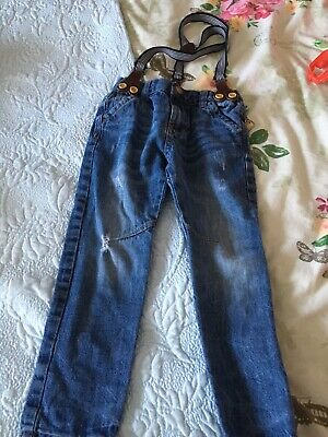Boys Skinny Blue Distressed Jeans And Braces Age 4 Years
