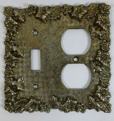 Vintage Brass Single Toggle and Outlet Plate Light Switch Cover Ornate Flowers