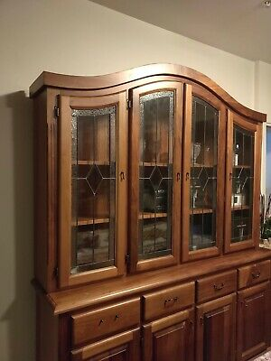 Colonial solid timber Sideboard display cabinet with glass doors