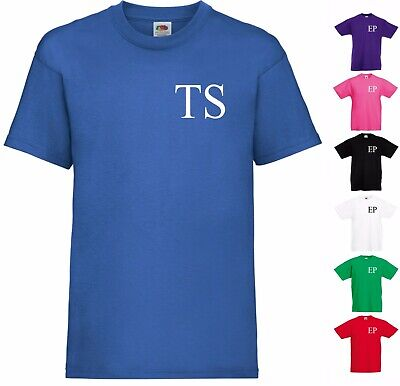 Personalised T-Shirt Name Initial Letters Boys & Girls Kids Children Present Top