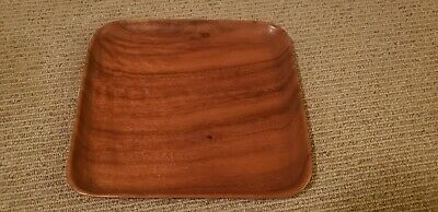"Vintage Monkey Pod Wood Serving Tray Platter Square 11½"" Mid Century Bar Service"