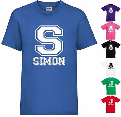 Personalised T-Shirt Name Initial & Name Boys & Girls Kids Child Present Tee Top