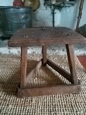A Super Primitive 19th Century Silversmiths Stool Work Stool
