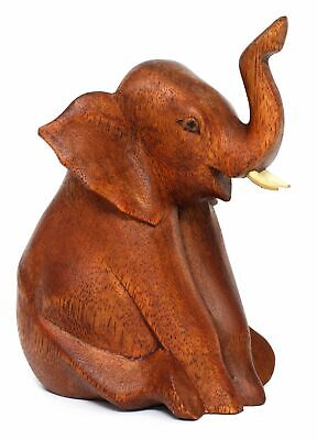 "Wooden 6"" Hand Carved Sitting Elephant Statue Figurine Sculpture Wood Home Decor"