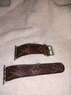 Up cycled repurposed  Louis Vuitton LV Apple Watch Strap Wrist Band sz 42