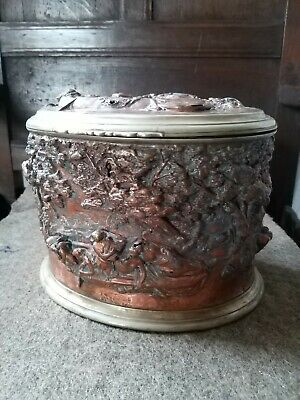 A Large Heavy Copper And Silver Plate Metal Box With Classical Scenes...