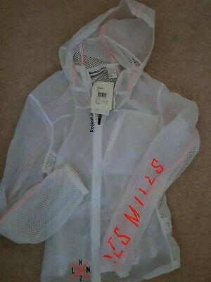 Womens Reebok Les Mills Woven Jacket Full Zip Hooded Windcheater Mesh Inserts