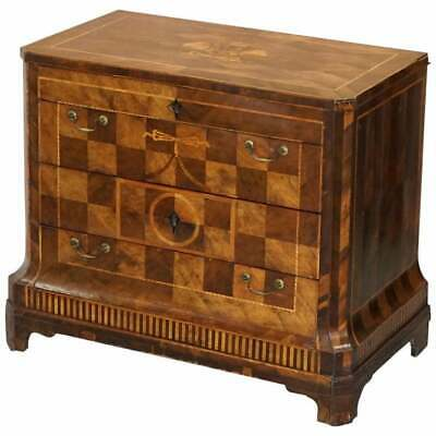 Rare Circa 1780 Continental Parquetry Marquetry Inlaid Commode Chest Of Drawers