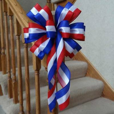 "10"" Wide Red White & Blue Patriotic Bow For Wreaths, 4Th Of July Decorations"