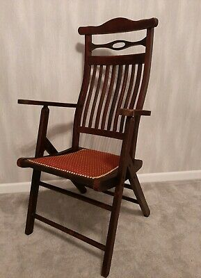 Milatary Antique Folding Campaign Chair (Newly reupholstered)