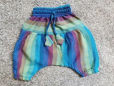 Girls Rainbow Striped Hareem Trousers Cotton Age 0-6 Months Exc Cond