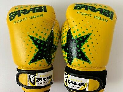 Pair of Farabi 6-oz Kids boxing Gloves Punching Bag Pad Workout MMA Kick Boxing