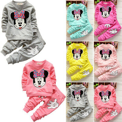 Baby Girls Kid Toddler Minnie Mouse Sweatshirt Tops Pants Trouser Casual Clothes