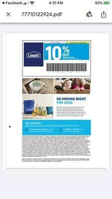 Lowes 10% Off Guaranteed ~ Exp 1/31/20 Can Be Emailed IN STORE ONLY