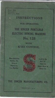 Vintage 1921 Singer sewing machine No. 128 instructions booklet