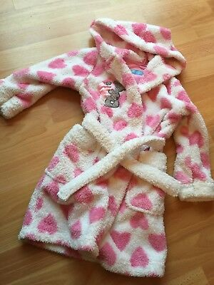 Girls Warm M&S Pink & White soft Fluffy Hooded Dressing Gown Age 18-24 Mths
