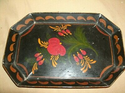 Atq Toleware Tole Hand Painted tin metal tray primitive home decor estate find