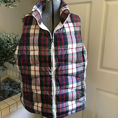 Lands End Womens Down Vest Plus size 1X 16W-18W Red Puffer Plaid Quilted Plus