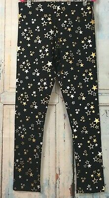 Wonder Nation Girls Leggings Star Print Black Gold Silver Size 14/16 X-Large New