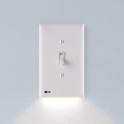 Single Light Switch Cover Plate Built-In LED Night Light Adjustable Toggle WHITE