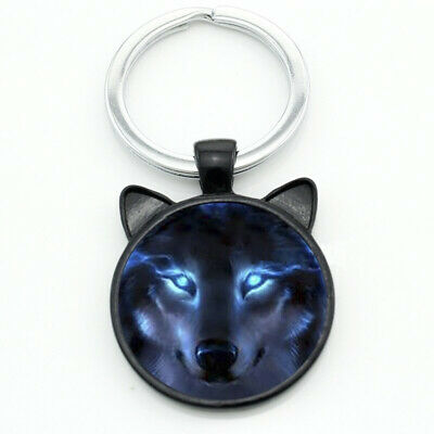 Blue Eyed Wolf Animal Unique Collectible Metal Key Ring Key Chain Free Gift Bag