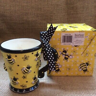 Bumble Bee 🐝 Mug Cup 3D Black Yellow White burton + BURTON NIB 10 oz.