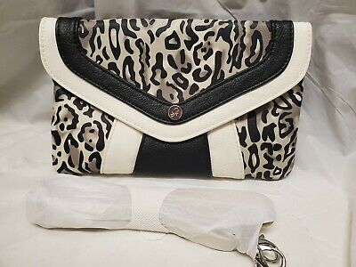 Grace Adele Black & White Leopard Exotic Clutch Handbag Crossbody New No Tags