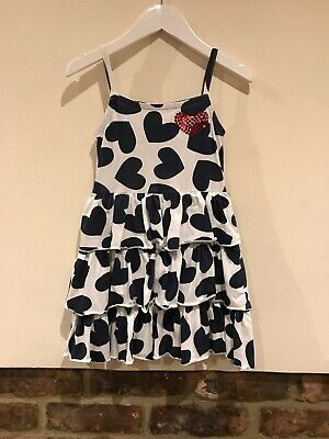 Next Girls Lovely White With Blue Hearts Summer Dress Age 5yrs