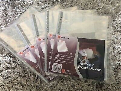 Rexel Nyrex Reinforced Pocket Dividers A4 Tabs 5 X A4 X 5 Packs (25) Brand New