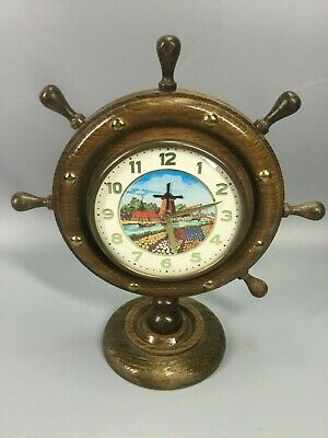 Dutch Animated Windmill Ship's Wheel Wooden Mantel Clock Germany - Darker