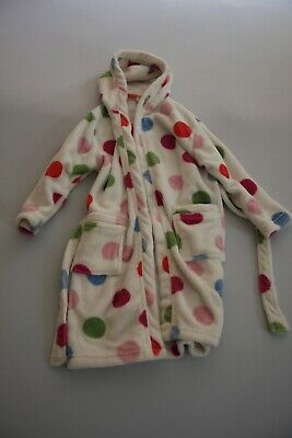 John Lewis girl white and spotty dressing gown - Age 6 years