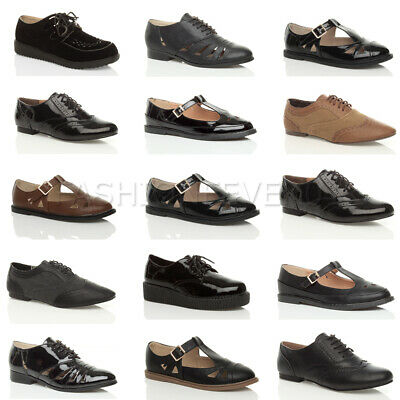 Womens Ladies Cut Out Flat Low Heel Lace Up Oxford Brogue School Work Shoes